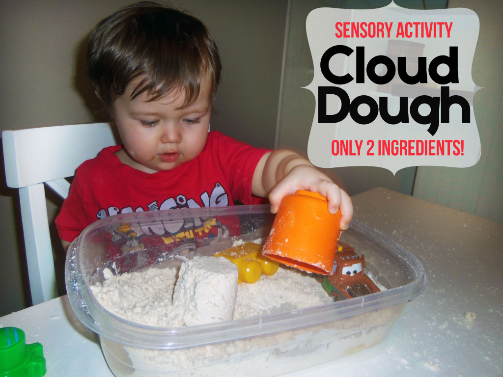 Sensory Activity - Cloud Dough Only 2 Ingredients! www.iheartartsncrafts.com