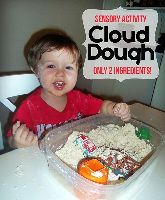 Toddler Cloud Dough Sensory Activity Recipe www.iheartartsncrafts.com