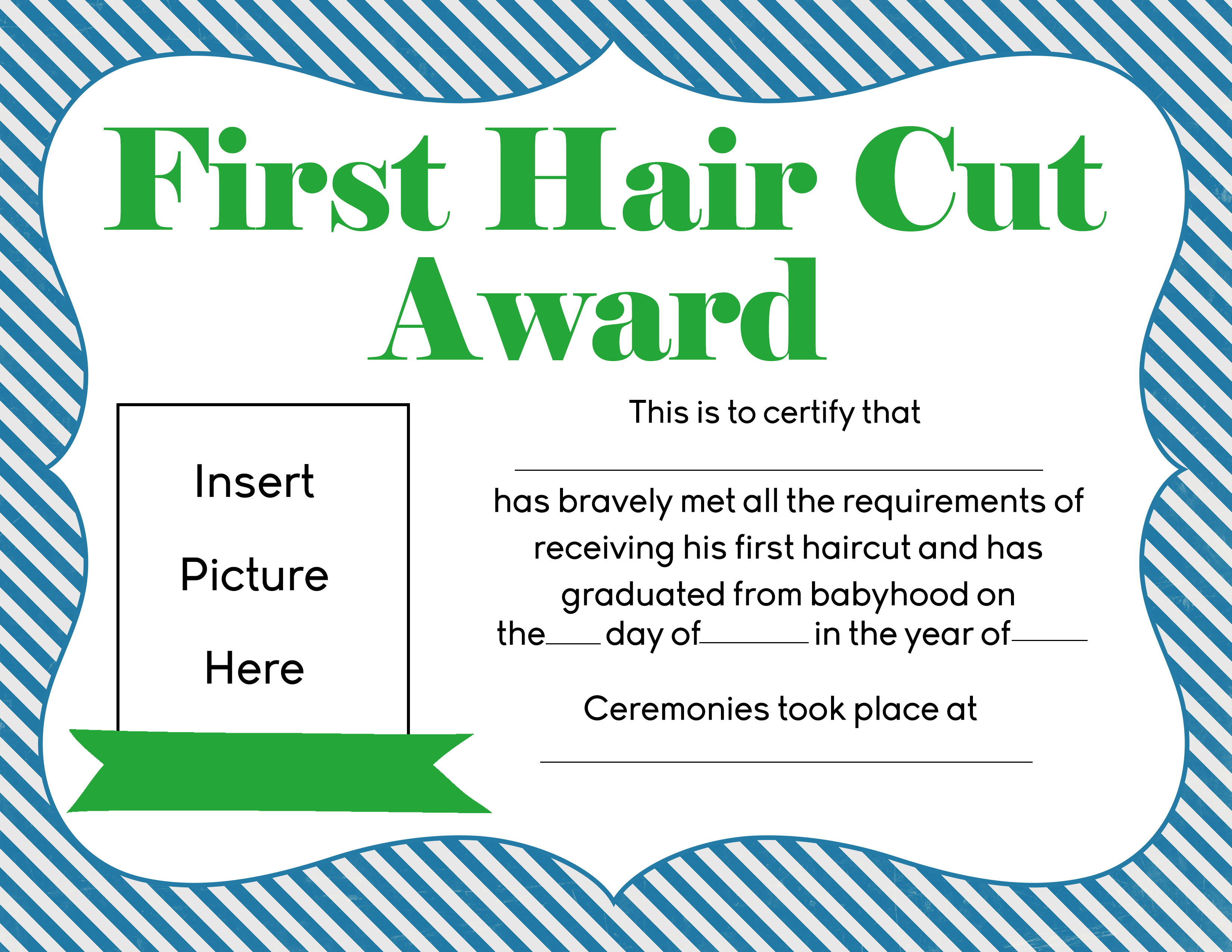 Graduating from babyhood first hair cut award printables for My first haircut certificate template