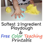 Kids and Toddlers 2 Ingredient Playdough Recipe and Free Color Teaching Printable www.iheartartsncrafts.com