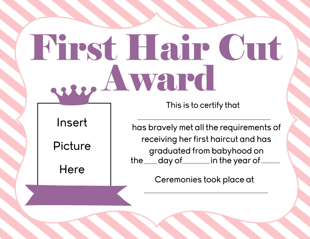Free first hair cut award printables first hair cut certificate xflitez Gallery