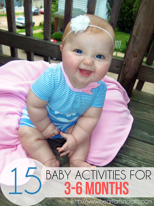 15 Baby Activities For 3 to 6 Months www.iheartartsncrafts.com