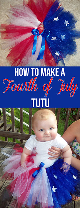 How To Make Your Own Toddler Girls Fourth Of July Tutu www.iheartartsncrafts.com