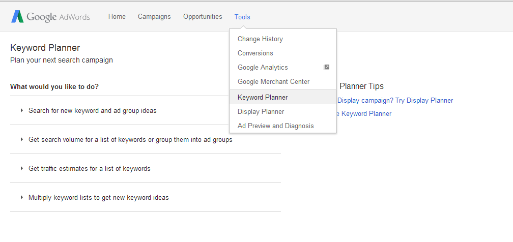 Keyword Planner Selection