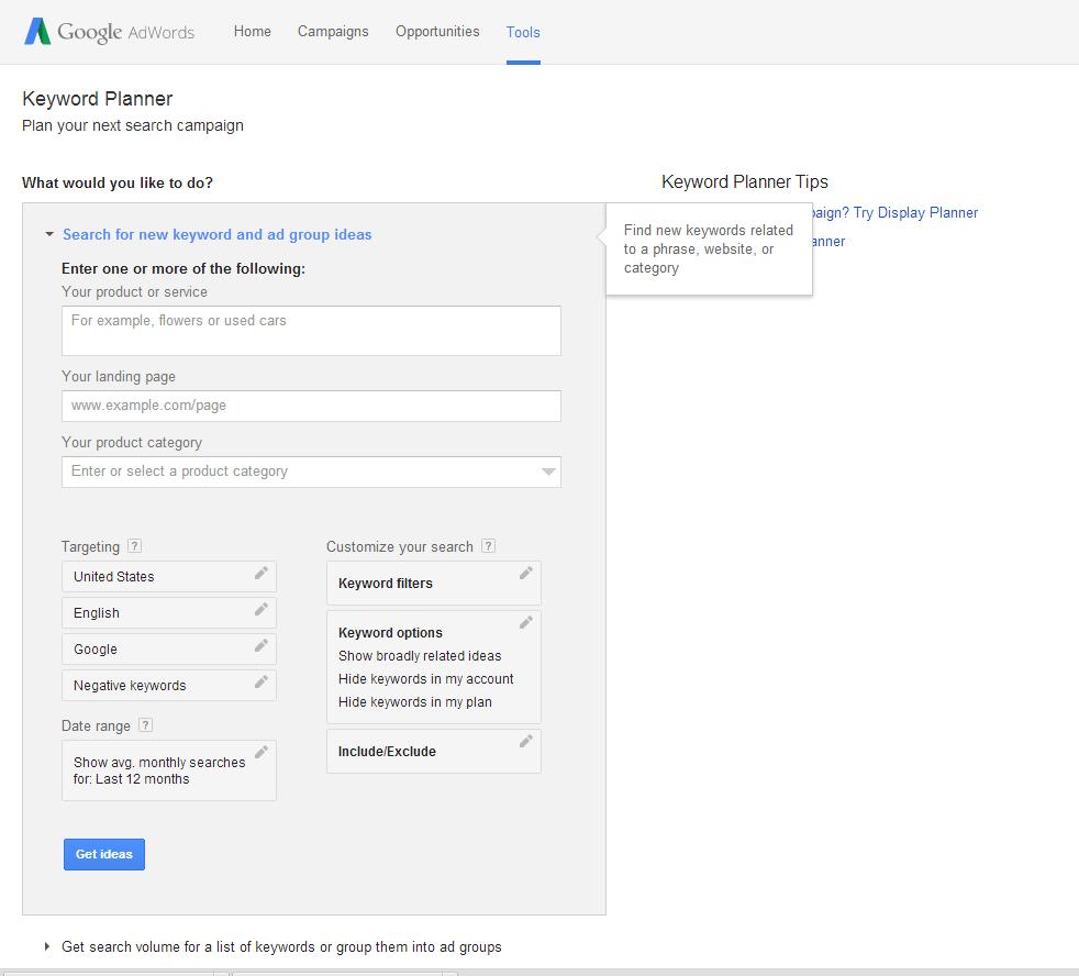 Keyword entry fields