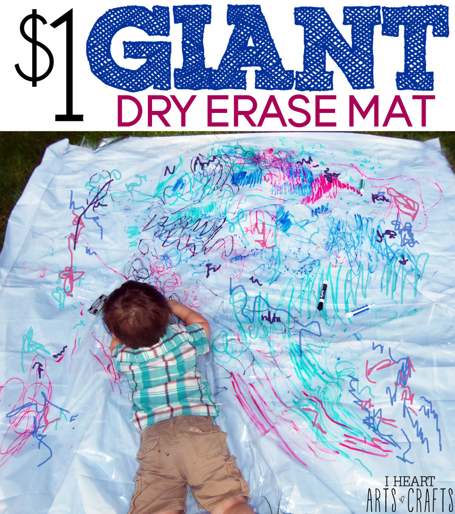 $1 Giant Dry Erase Mat - Makes a great indoor rainy day activity, and it's mess free!