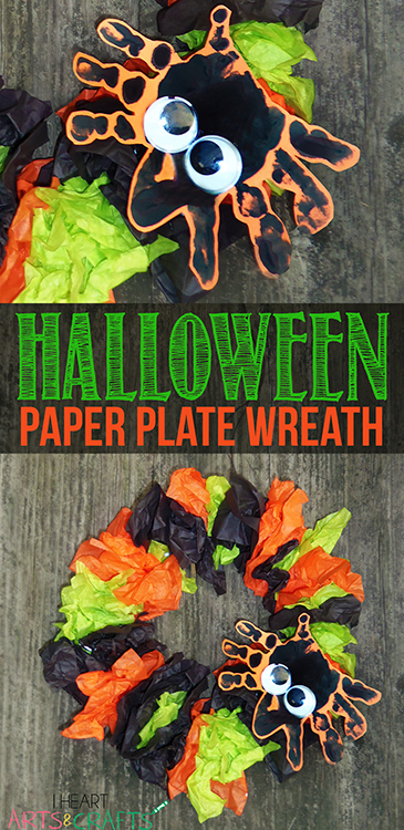 Halloween paper plate wreath kids craft for Art n craft for toddlers