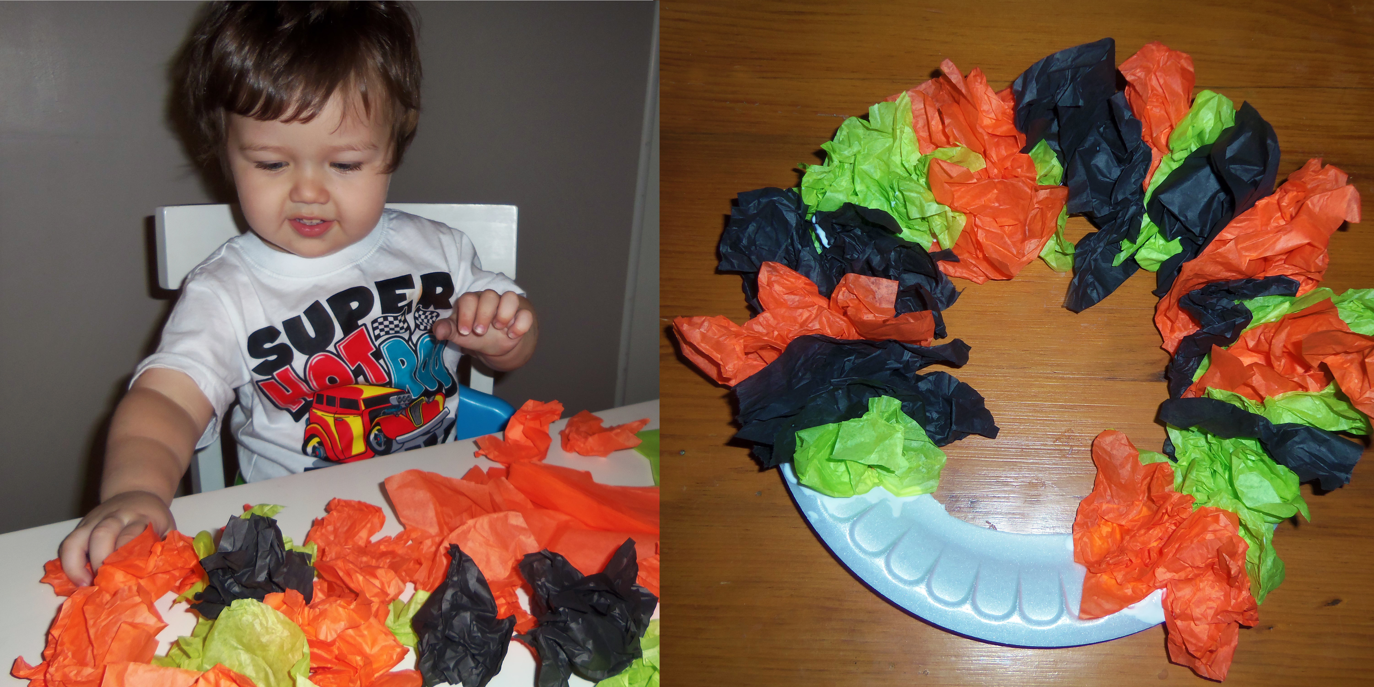 halloween paper plate wreath kids craft