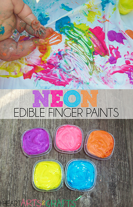 Neon Edible Finger Paint Toddler Activity www.iheartartsncrafts.com
