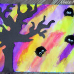 Watercolor Silhouette With Spooky Pasta Bats - Includes printable tree stencil! Easy preschool Halloween craft!