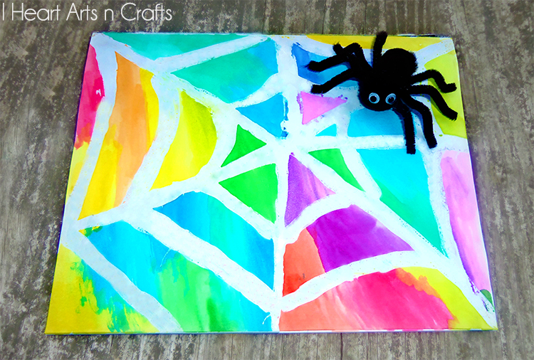 Water Color Resist Spider Web Art