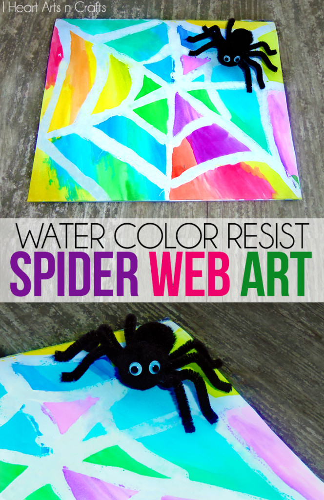 preschool spider art water color resist spider web 298