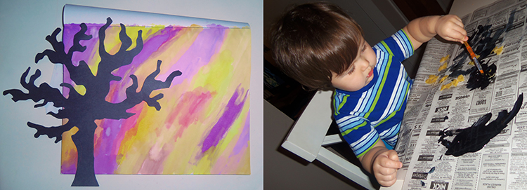 Watercolor Silhouette With Spooky Pasta Bats - Includes printable tree stencil! Easy preschool Halloween craft!