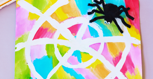 Watercolor Resist Spider Web Art
