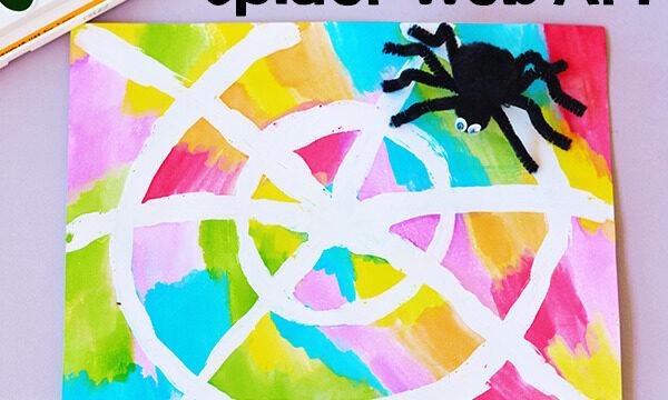 Watercolor Resist Spider Web Art