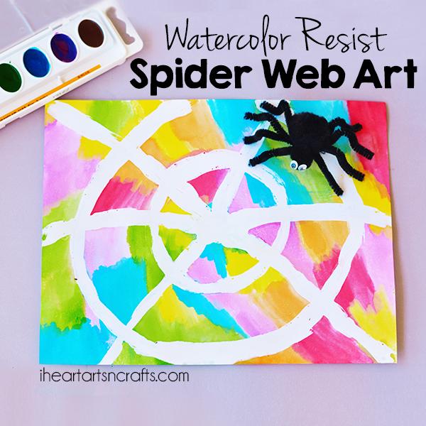 Colorful Watercolor Resist Spider Web Art