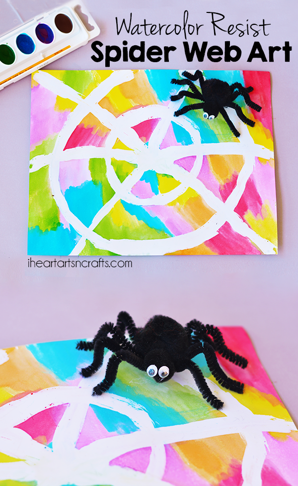 Colorful Watercolor Resist Spider Web Art