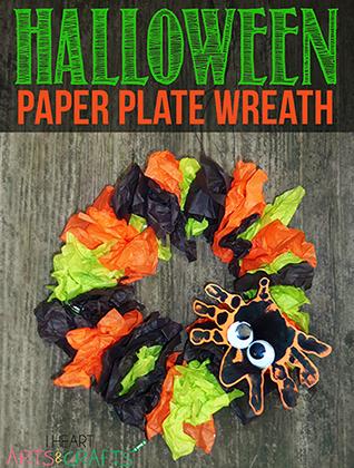 Halloween Paper Plate Wreath Craft