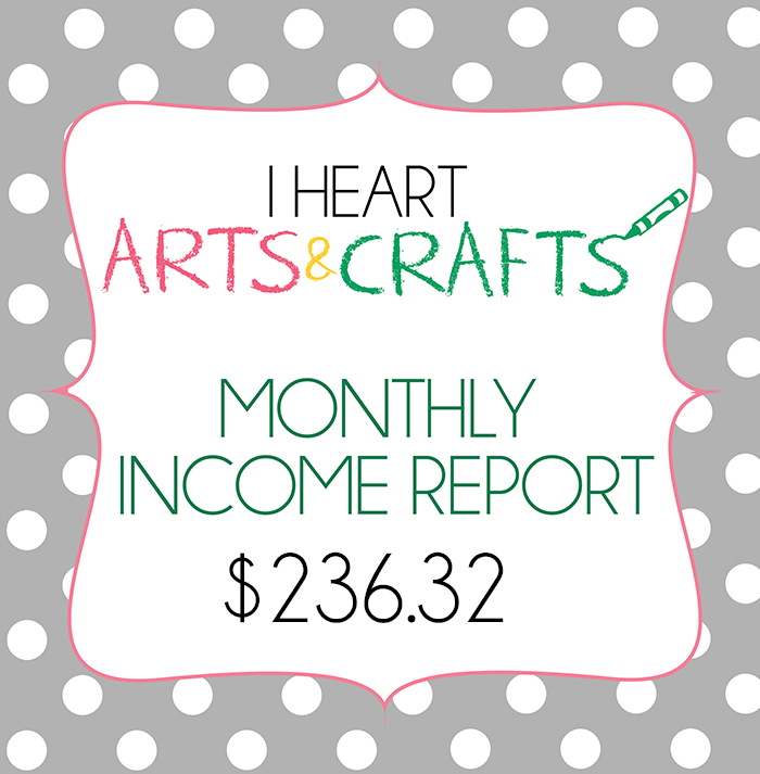 September Monthly Income Report For I Heart Arts n Crafts