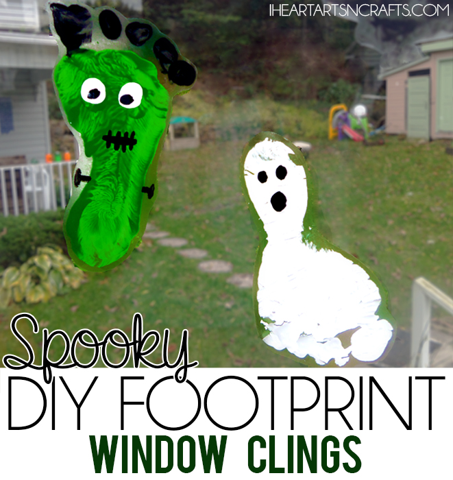 Spooky DIY Halloween Footprint Window Clings - An easy Halloween decoration the kids can make!