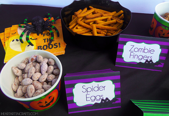 candy free halloween party snacks with printable spooky snack labels - Names For A Halloween Party