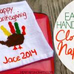 Easy Handprint Cloth Napkin - Make adorable handprint turkeys for Thanksgiving!