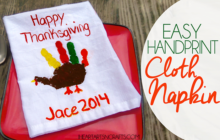 Easy Handprint Cloth Napkin - Make adorable handprint turkeys for Thanksgiving!