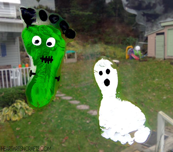 Window Cling Decorations spooky footprint window cling toddler craft