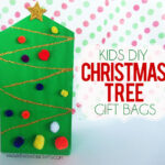 Kids DIY Christmas Tree Gift Bags - A gift bag the kids can make and fill with cookie or other goodies for their teachers or family!