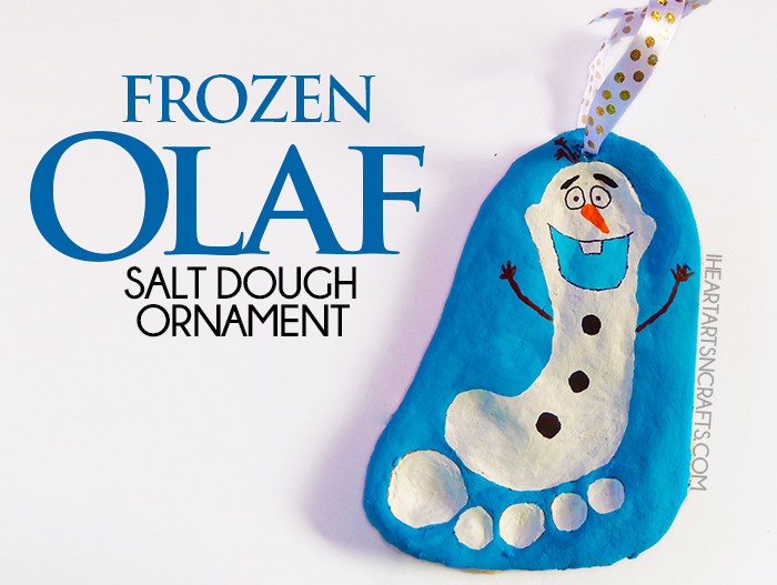 Frozen Olaf Salt Dough Ornament - Easy Christmas ornament made from your child's footprint!