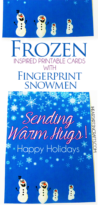 Frozen Inspired Printable Cards - Just add a fingerprint Olaf or make the whole family using fingerprint snowmen!
