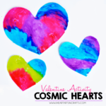 Cosmic Hearts - Create this easy 2 ingredient glossy neon paint to make these vibrant valentines!