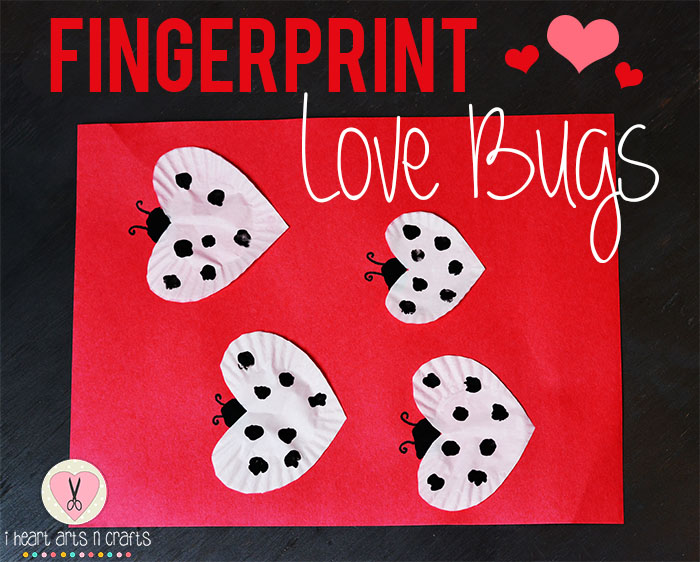 Fingerprint love bugs easy valentine 39 s day kids craft i for Valentines day toddler crafts