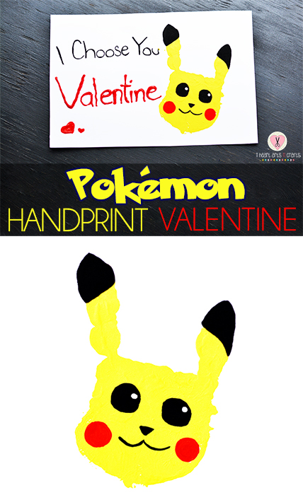 Pokemon Handprint Valentine Craft