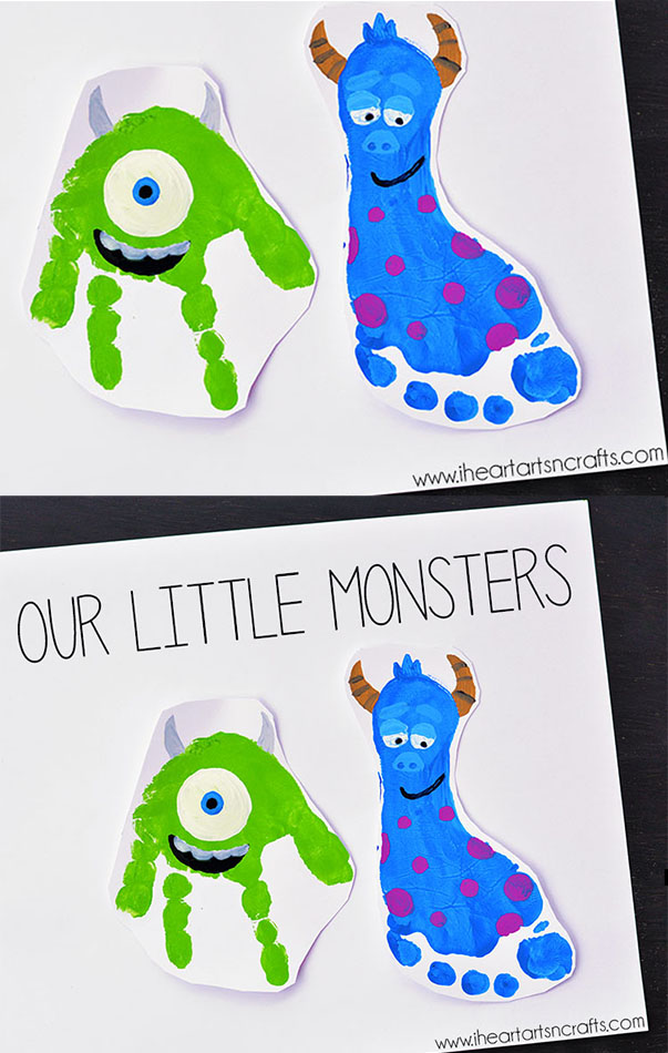 Monster Handprint and Footprint Art Inspired By Monsters Inc