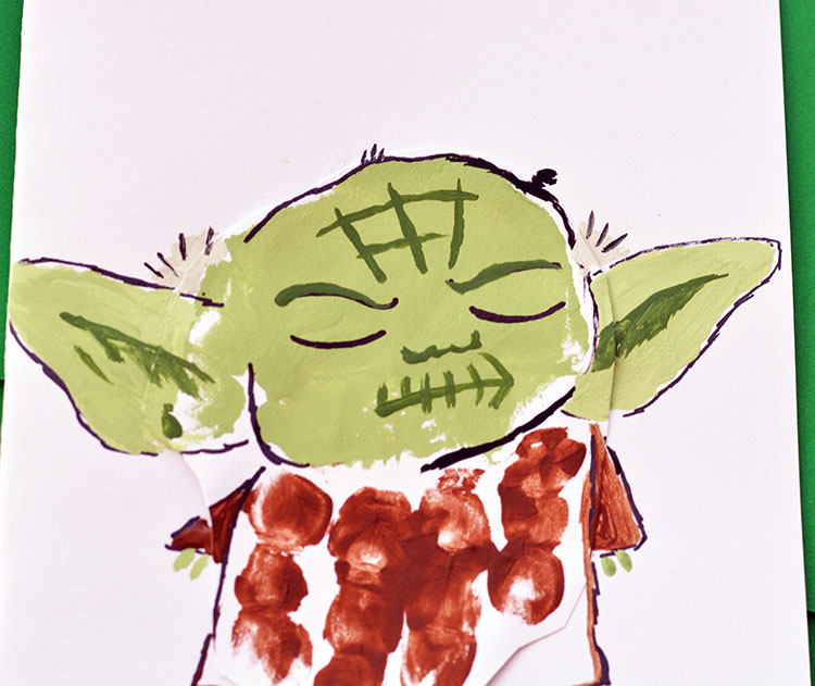 'Yoda Best Dad' Handprint Star Wars Father's Day Card