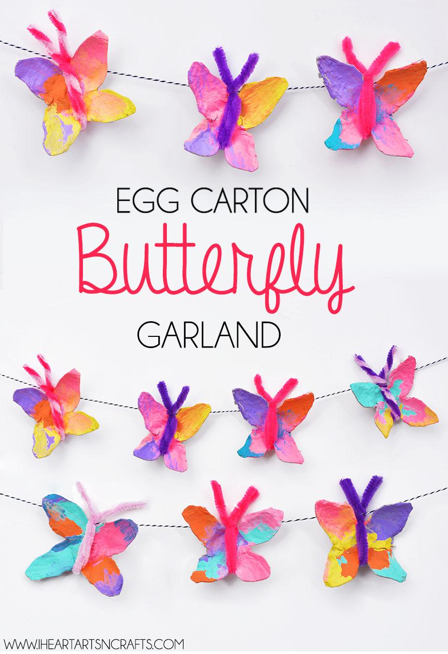 egg carton butterfly garland