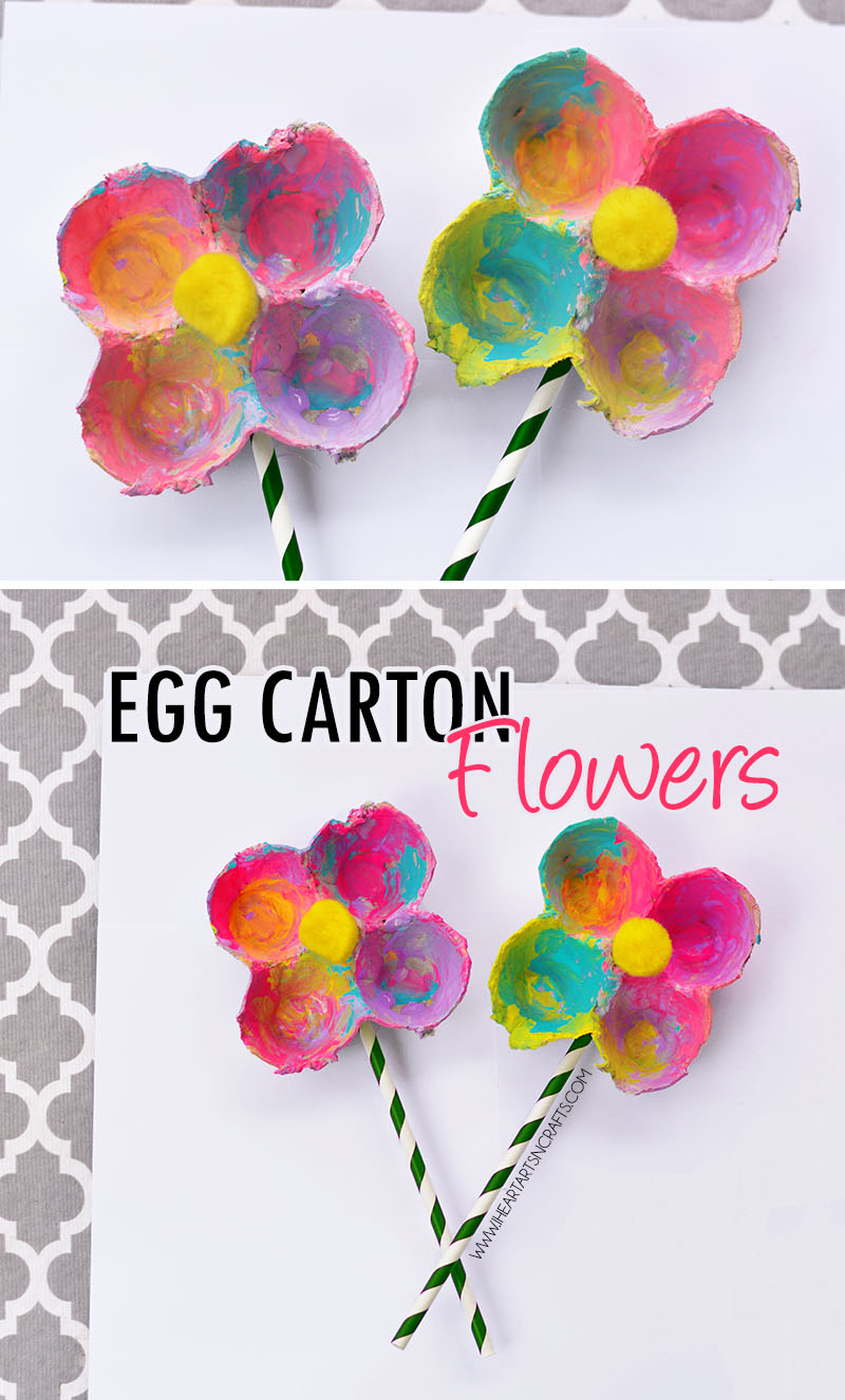 Simple Art And Craft Ideas For Kids Part - 24: Colorful Egg Carton Flowers