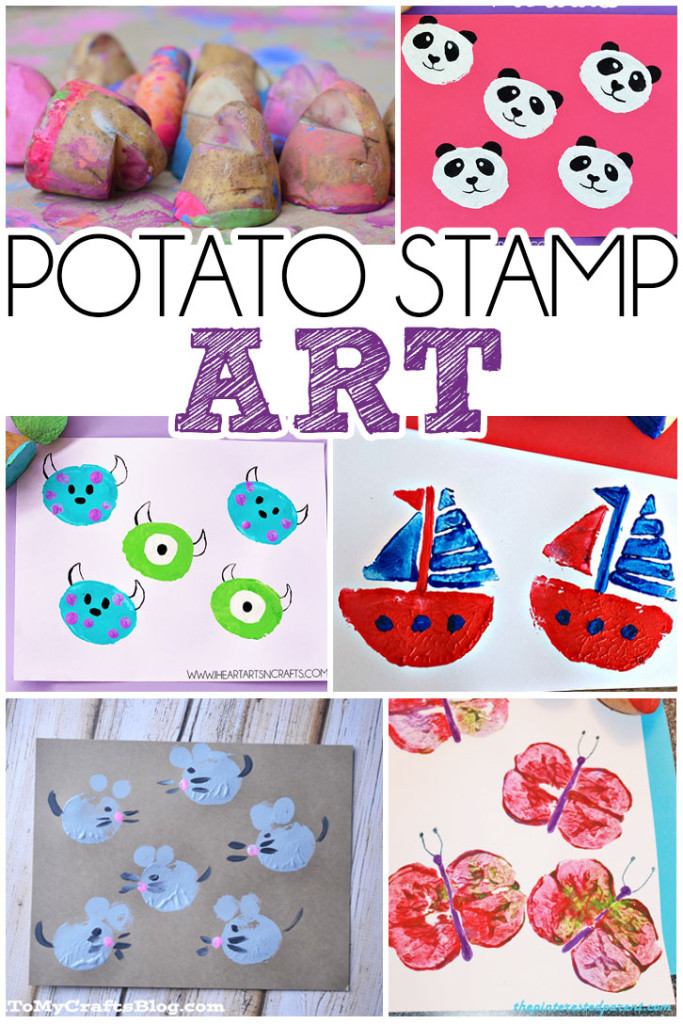 Over 15 ideas for making art with potato stamps!