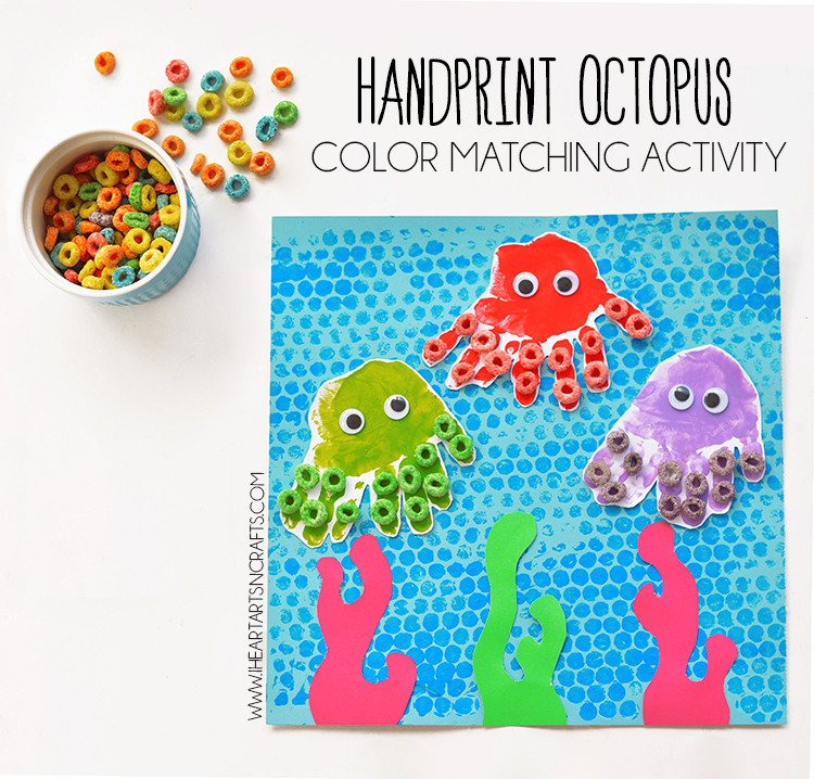 hand print craft ideas handprint octopus and color matching activity i 4633