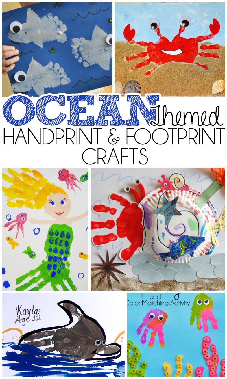 ocean themed handprint and footprint crafts i heart arts n crafts