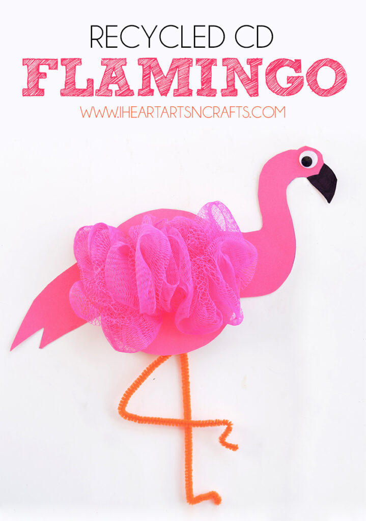 Recycled CD Flamingo Kids Craft