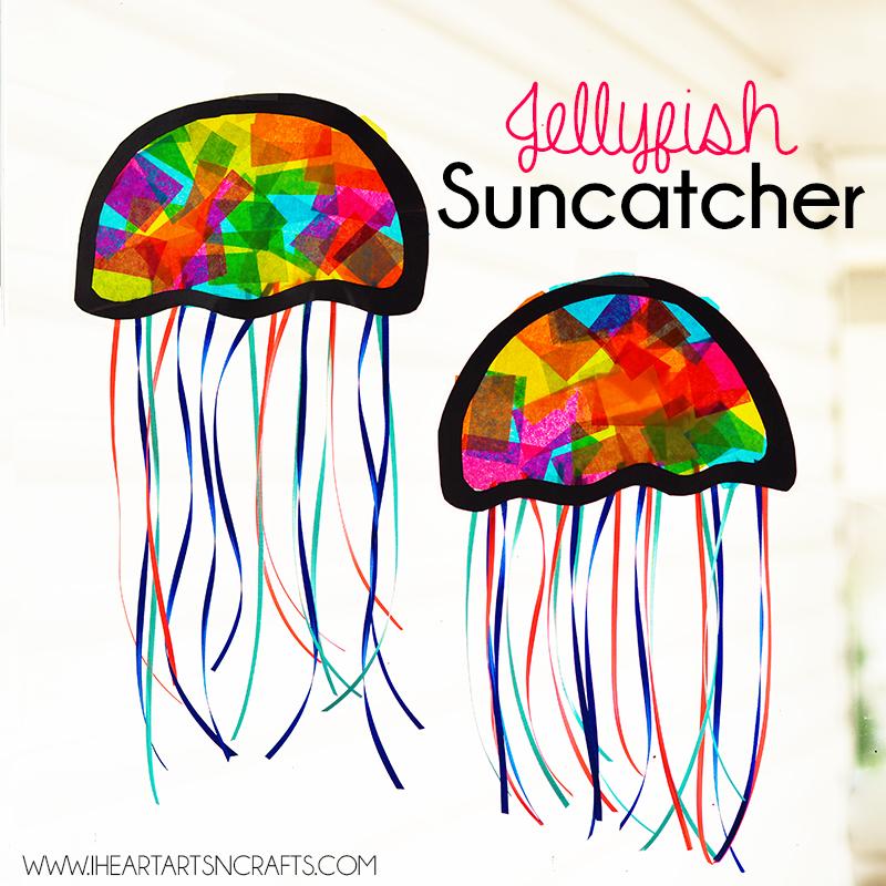 Suncatcher jellyfish kids craft i heart arts n crafts for Sea life arts and crafts