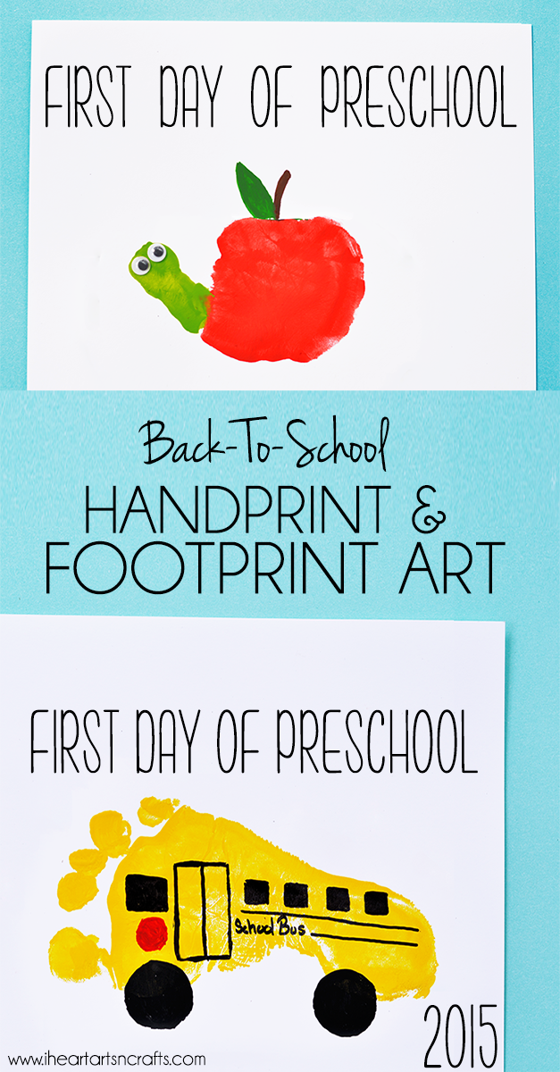 Handprint apple and footprint bus back to school keepsakes for Arts and crafts for school