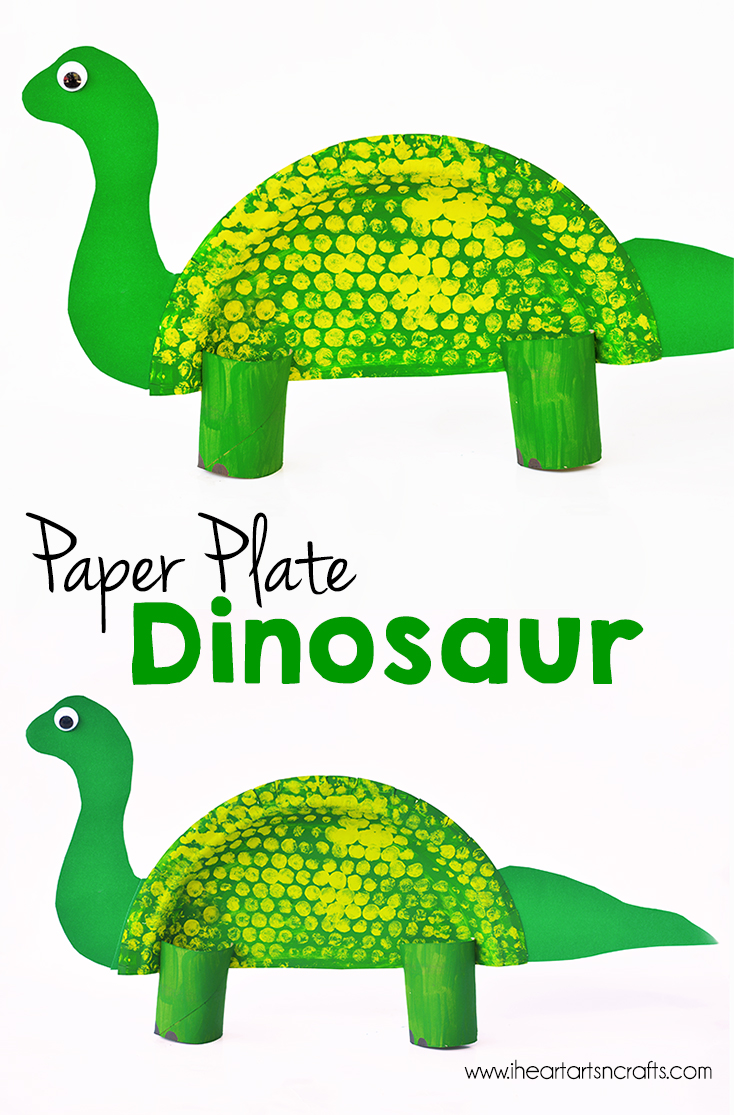 Dinosaur arts and crafts - Paper Plate Dinosaur Kids Craft