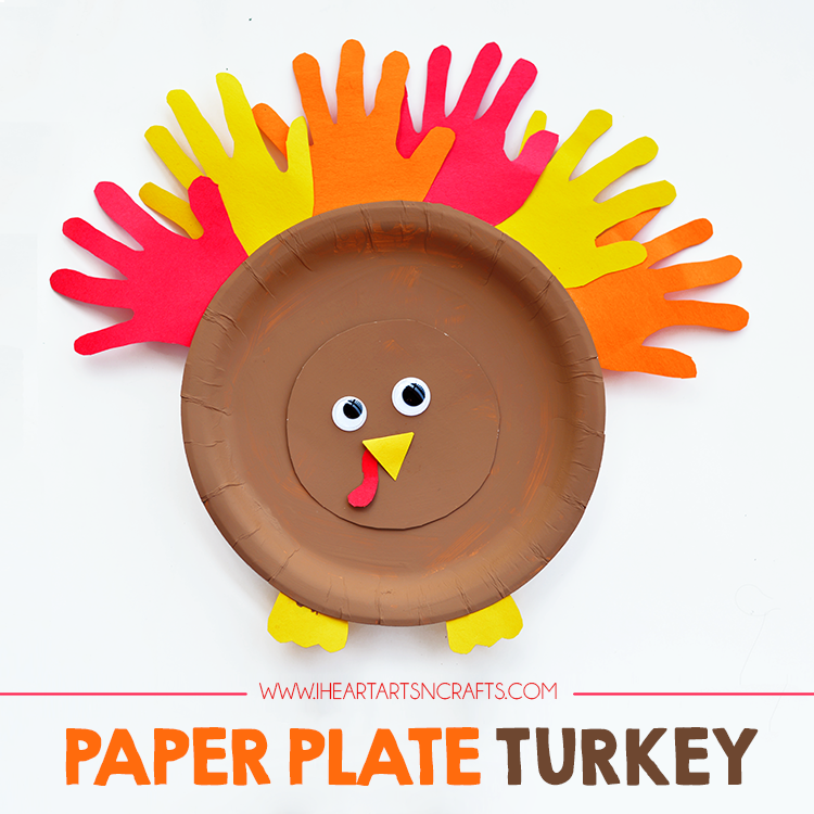 Handprint Paper Plate Turkey Kids Craft