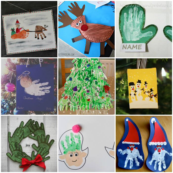 20 DIY Christmas Handprint And Footprint Kids Crafts
