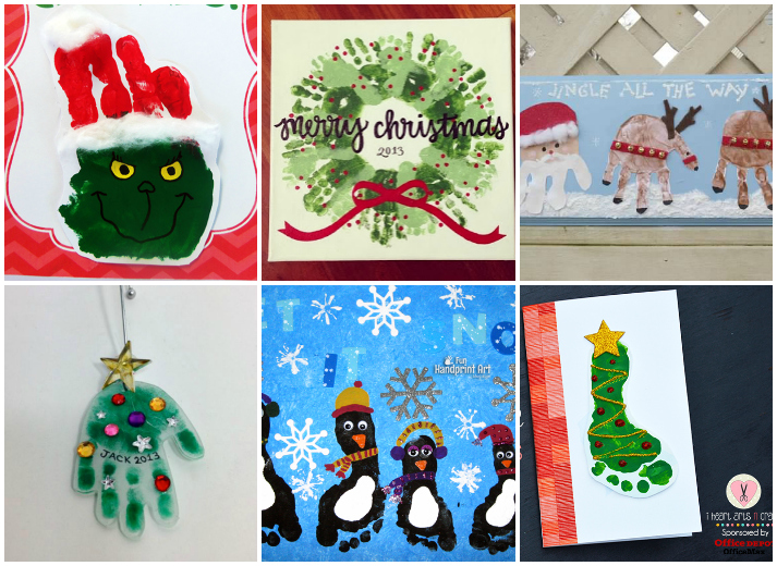 21 Easy Handprint and Footprint Christmas Kids Crafts