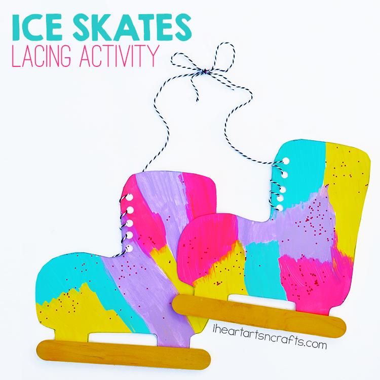 Fine Motor Lacing Ice Skate Craft