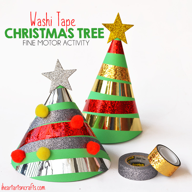 Washi Tape Christmas Tree Fine Motor Activity